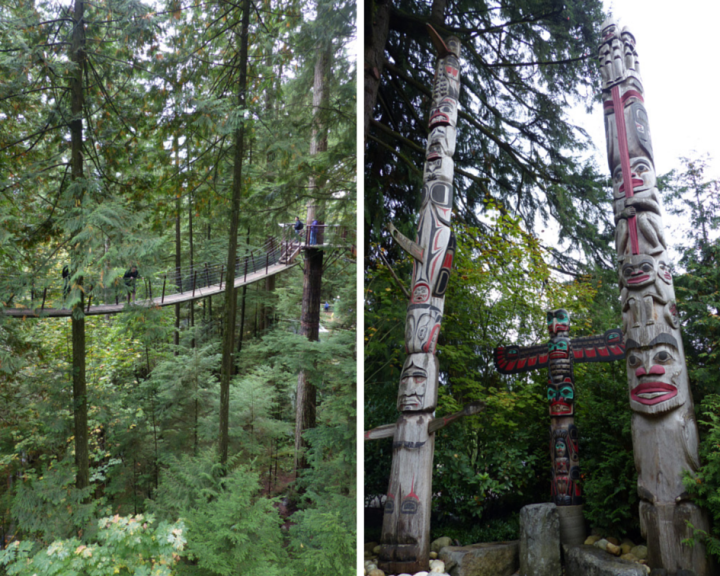Capilano Suspension Bridge Park - Cliffwalk and Totem poles Capilano Suspension Bridge Park - Cliffwalk and Totem poles