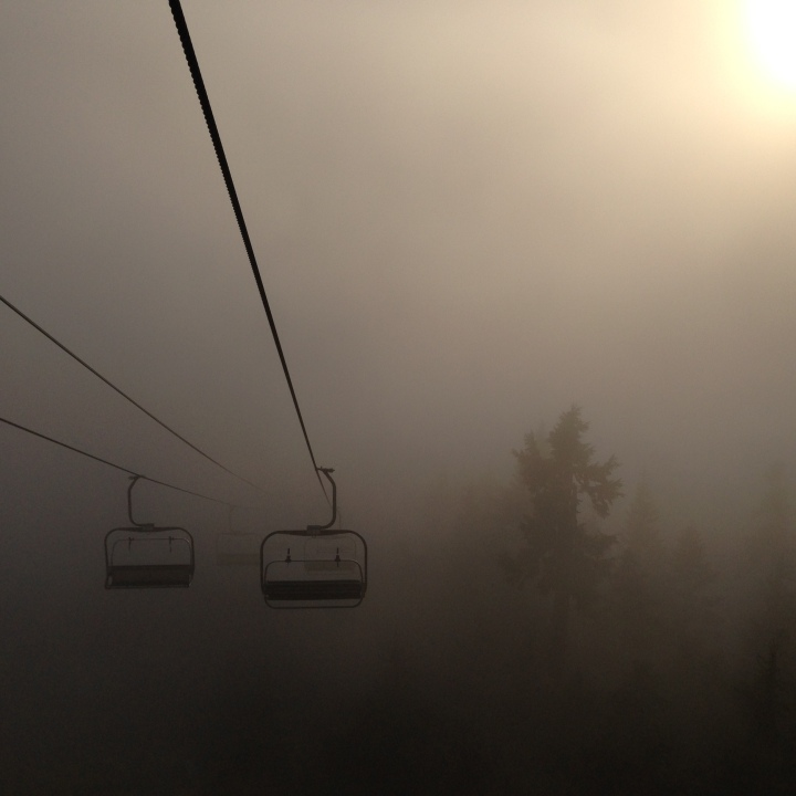 Chair lift in the fog at Grouse Mountain