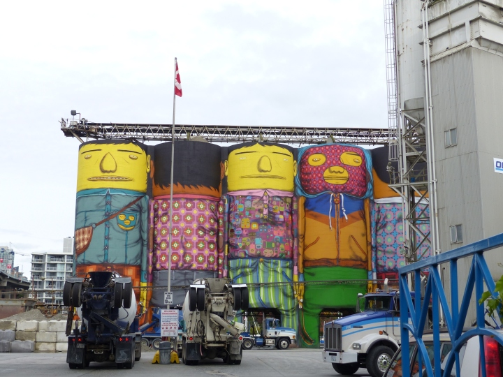Graffiti concrete silos on Granville Island