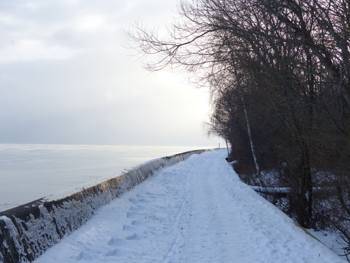 Toronto Islands snowy boardwalk