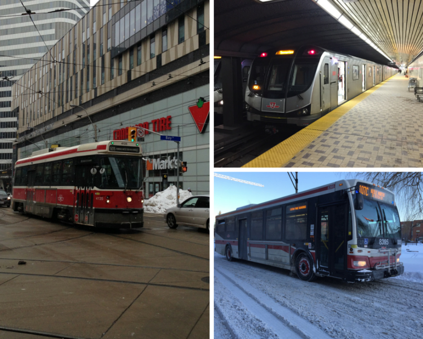TTC streetcar, subway and bus