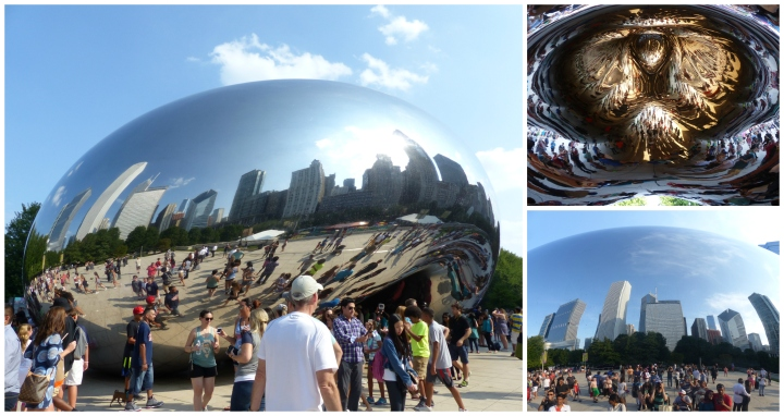 We joined the masses at the popular Cloud Gate in Millennium Park. Can you spot us in any of the reflections?