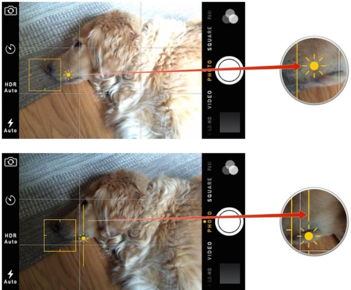 Adjust exposure iPhone camera