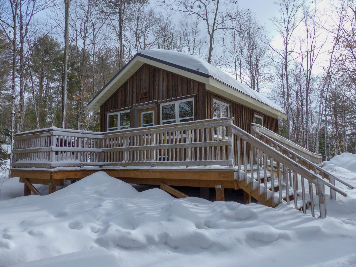 Loving winter with a cosy cabin at Silent Lake Provincial Park